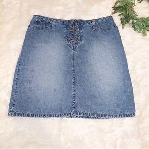 ♡3/$20♡ Faded Glory | Denim Lace Up Midi Skirt